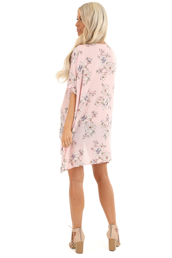 Pale Blush Floral Short Sleeve Open Front Kimono back full body