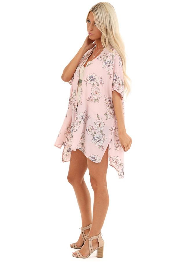 Pale Blush Floral Short Sleeve Open Front Kimono side full body