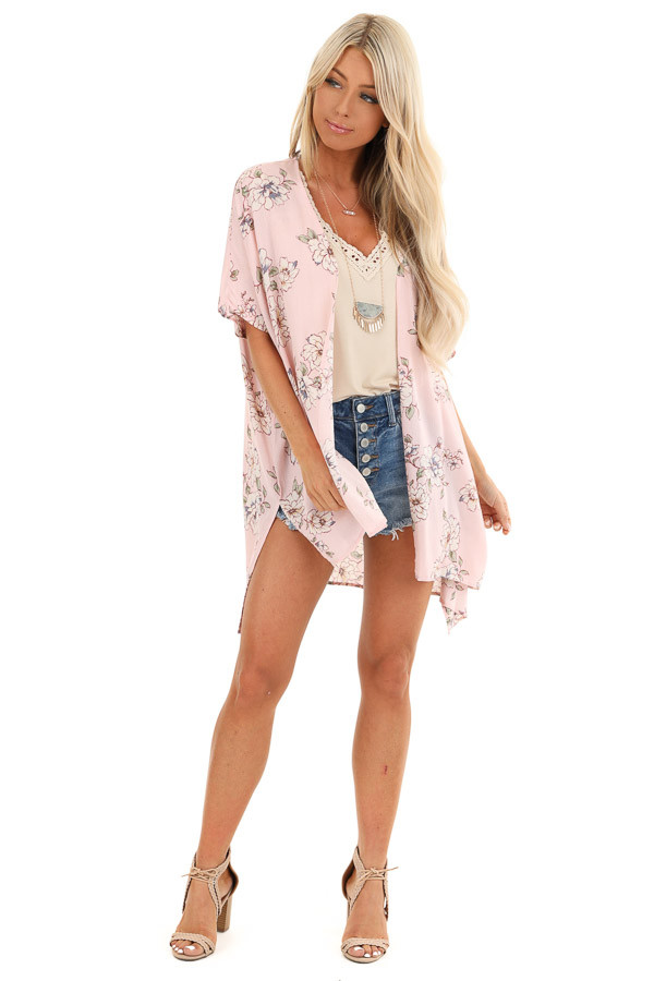 Pale Blush Floral Short Sleeve Open Front Kimono front full body