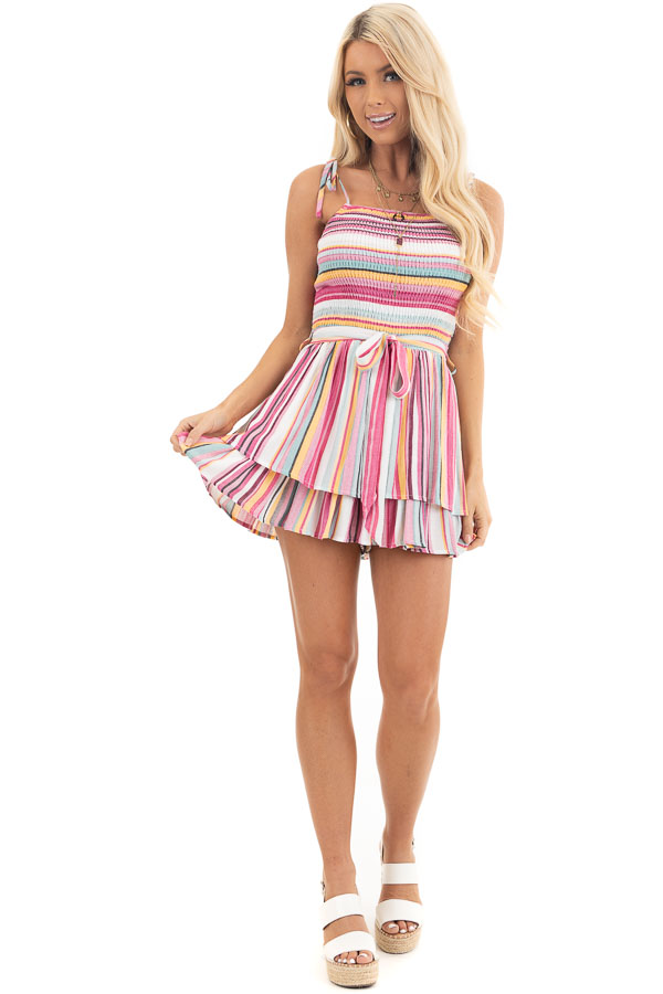 Multi Color Striped Ruffle Romper with Smocked Details front full body