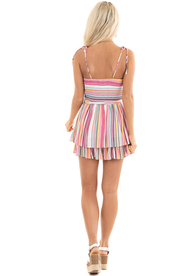 Multi Color Striped Ruffle Romper with Smocked Details back full body