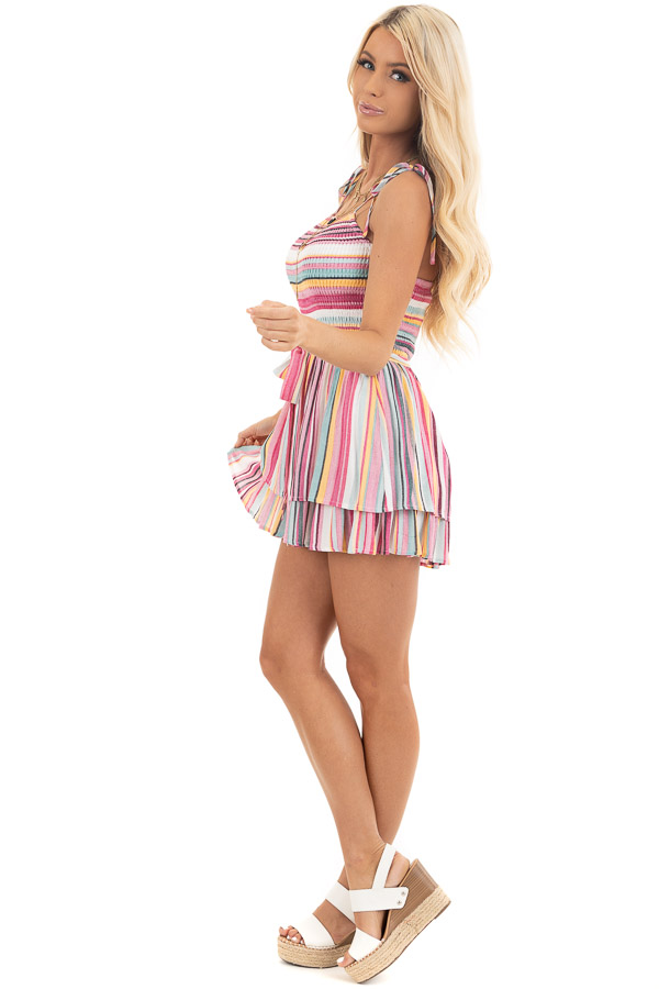 Multi Color Striped Ruffle Romper with Smocked Details side full body