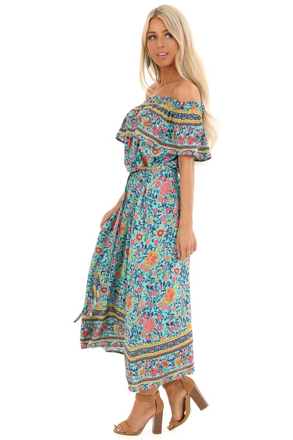 Aqua Floral Print Off the Shoulder Midi Dress with Waist Tie side full body