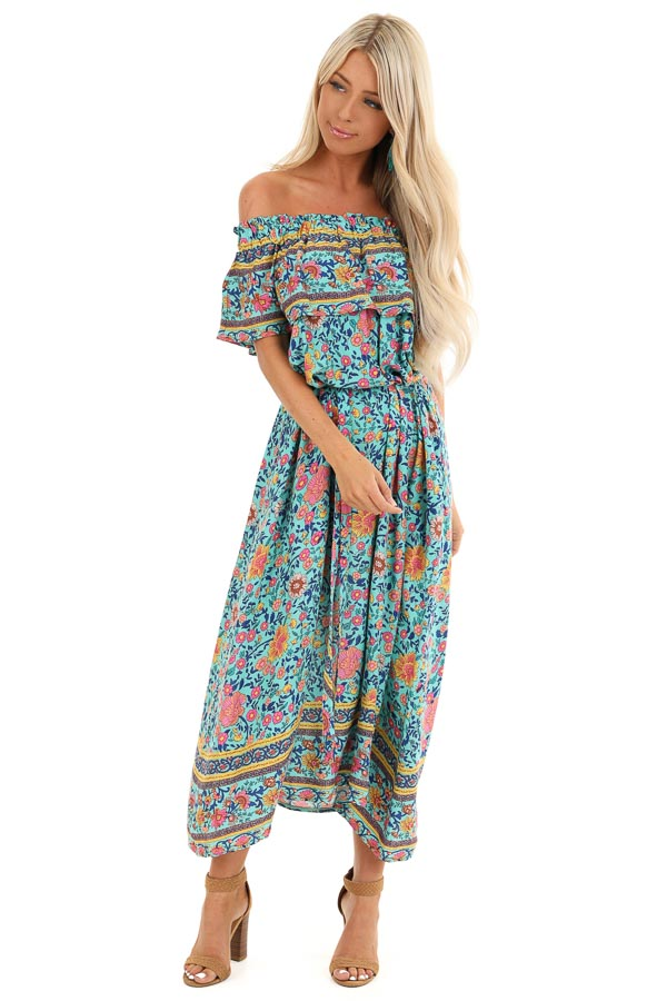 Aqua Floral Print Off the Shoulder Midi Dress with Waist Tie front full body