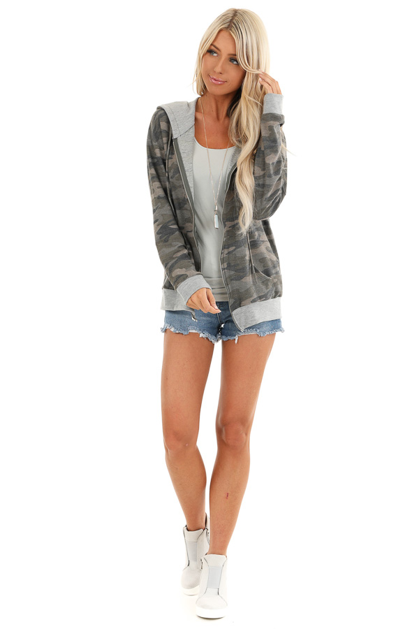 Olive Camo Print Jacket with Hood and Zipper Detail front full body