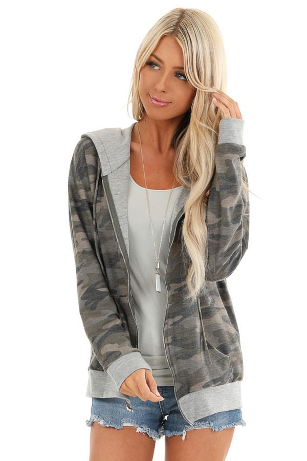 Olive Camo Print Jacket with Hood and Zipper Detail front close up