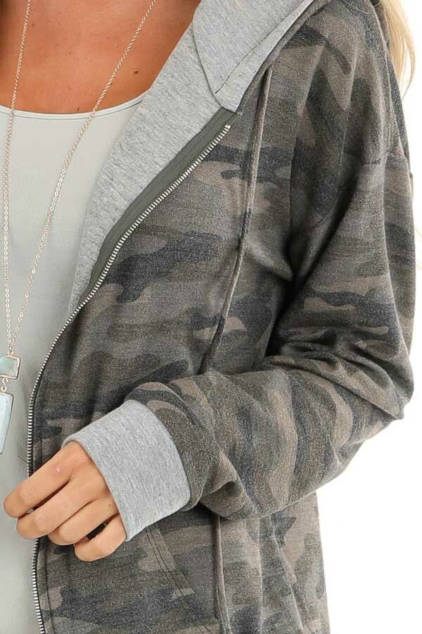 Olive Camo Print Jacket with Hood and Zipper Detail detail
