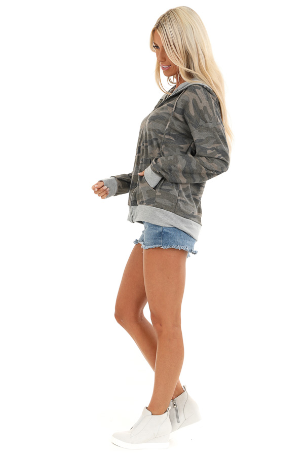 Olive Camo Print Jacket with Hood and Zipper Detail side full body