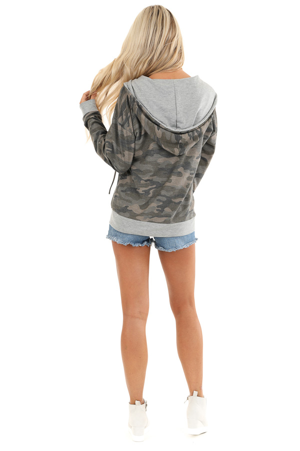 Olive Camo Print Jacket with Hood and Zipper Detail back full body
