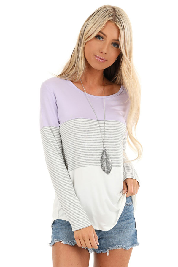 Lilac Heather Grey and Ivory Color Block Long Sleeve Top front close up