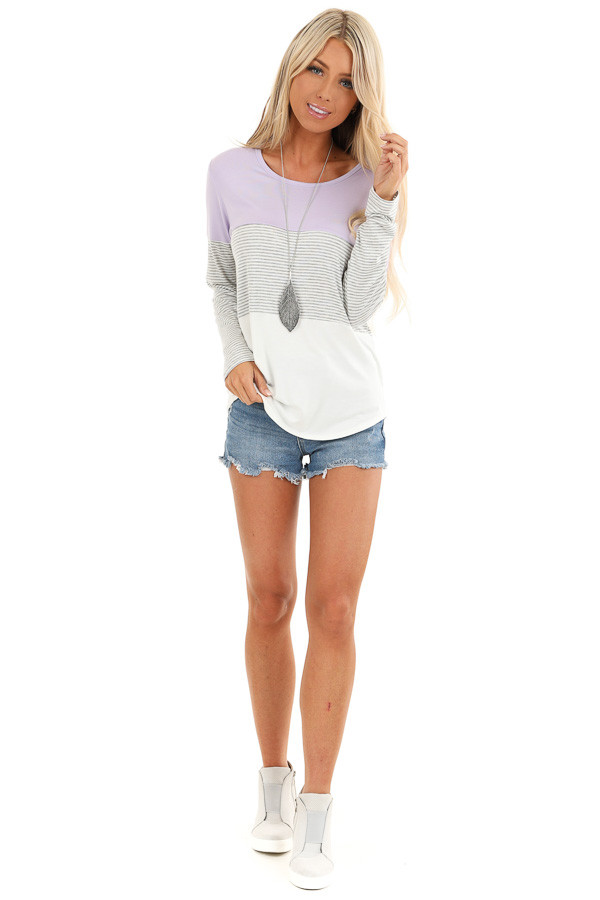 Lilac Heather Grey and Ivory Color Block Long Sleeve Top front full body