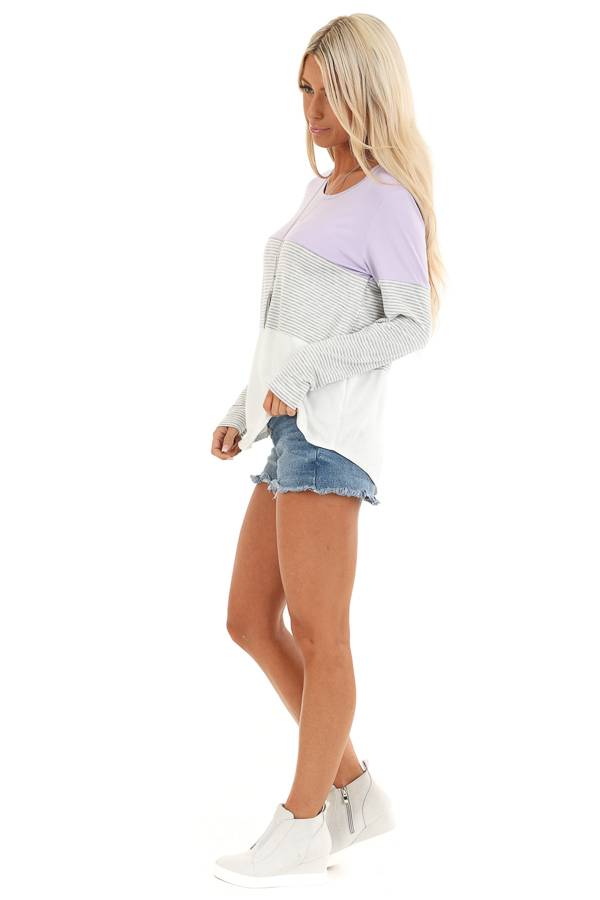 Lilac Heather Grey and Ivory Color Block Long Sleeve Top side full body