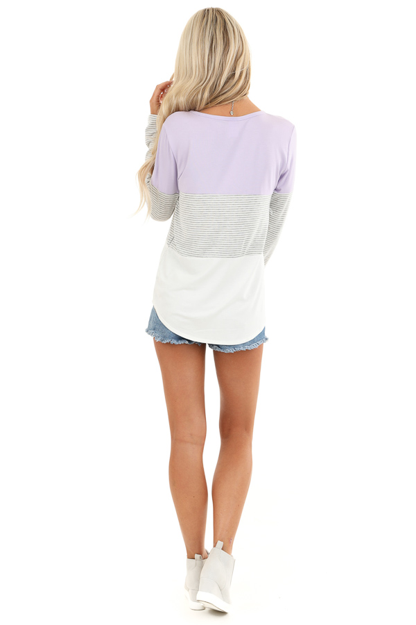 Lilac Heather Grey and Ivory Color Block Long Sleeve Top back full body