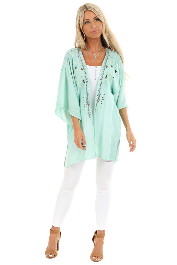 Mint Blue Washed Kimono with Floral Embroidered Detail front full body