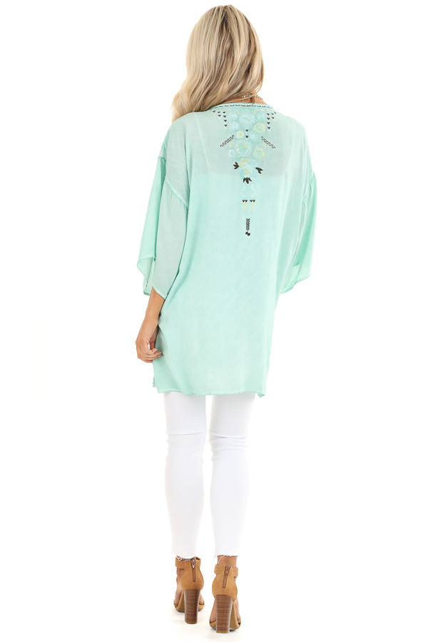 Mint Blue Washed Kimono with Floral Embroidered Detail back full body