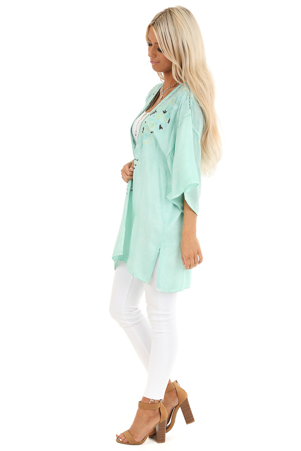 Mint Blue Washed Kimono with Floral Embroidered Detail side full body