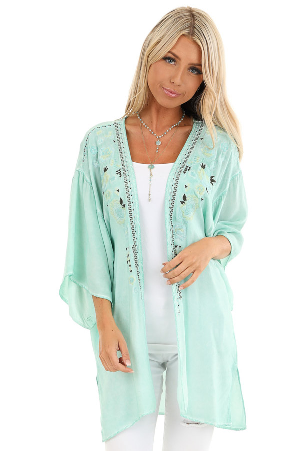 Mint Blue Washed Kimono with Floral Embroidered Detail front close up