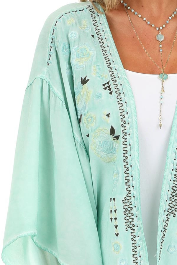 Mint Blue Washed Kimono with Floral Embroidered Detail detail