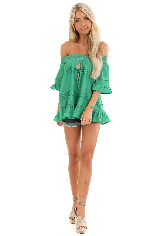 Kelly Green Off the Shoulder Top with Ruffle Details front full body
