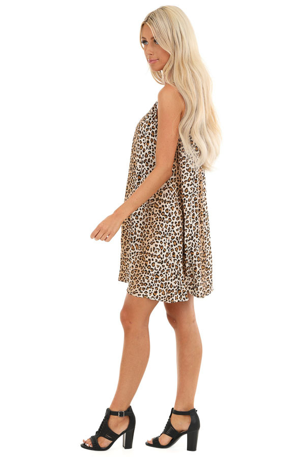 Sand and Caramel Animal Print Spaghetti Strap Mini Dress side full body