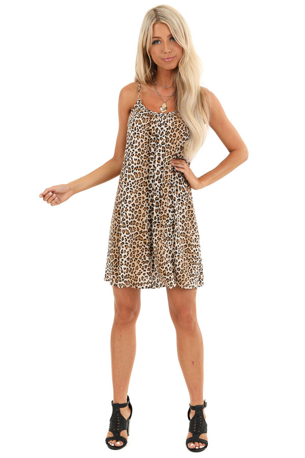 Sand and Caramel Animal Print Spaghetti Strap Mini Dress front full body