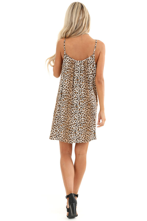 Sand and Caramel Animal Print Spaghetti Strap Mini Dress back full body