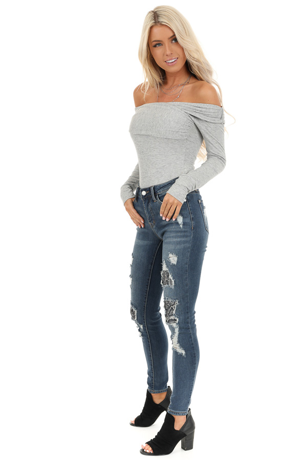 Heather Grey Crossed Off the Shoulder Ribbed Knit Bodysuit side full body