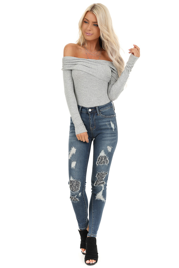 Heather Grey Crossed Off the Shoulder Ribbed Knit Bodysuit front full body