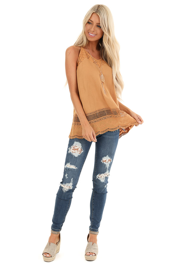 Mustard V Neck Tank Top with Crochet Lace Details front full body
