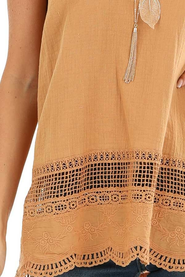 Mustard V Neck Tank Top with Crochet Lace Details detail