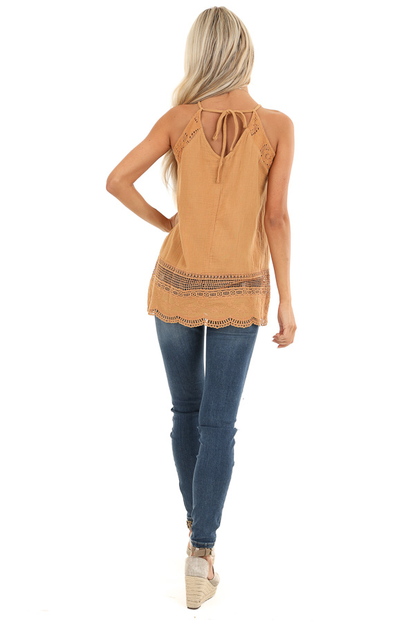 Mustard V Neck Tank Top with Crochet Lace Details back full body