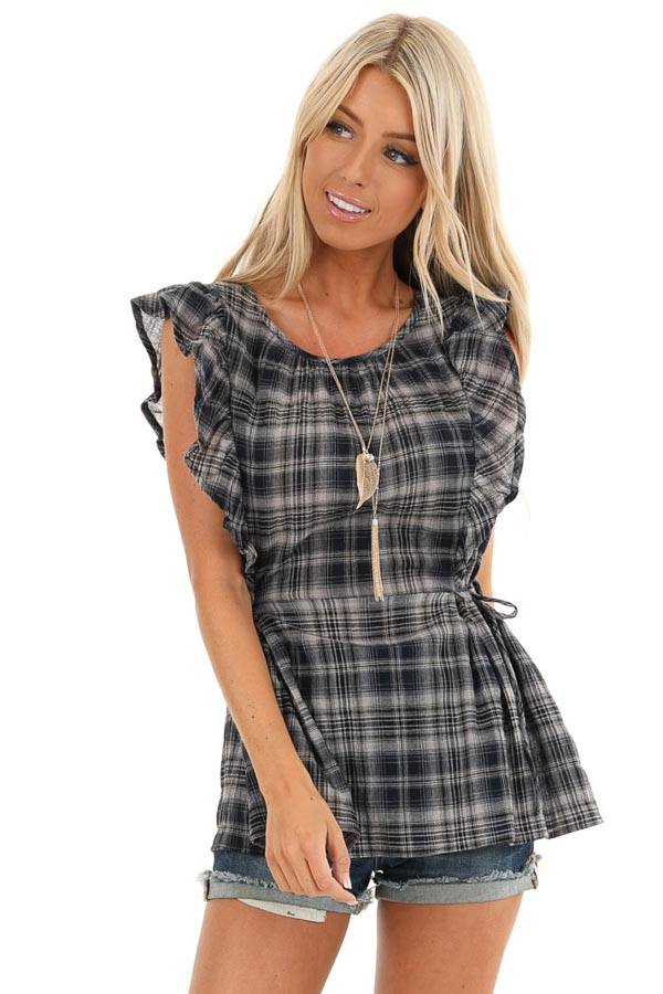 Navy and Stone Grey Plaid Ruffle Sleeve Top with Side Ties front close up