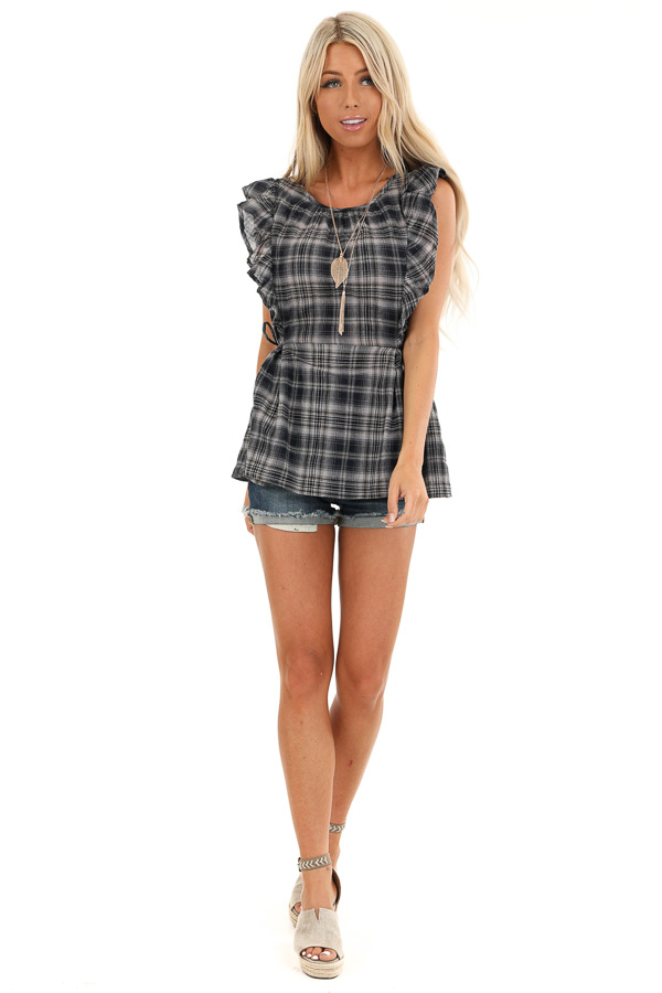 Navy and Stone Grey Plaid Ruffle Sleeve Top with Side Ties front full body