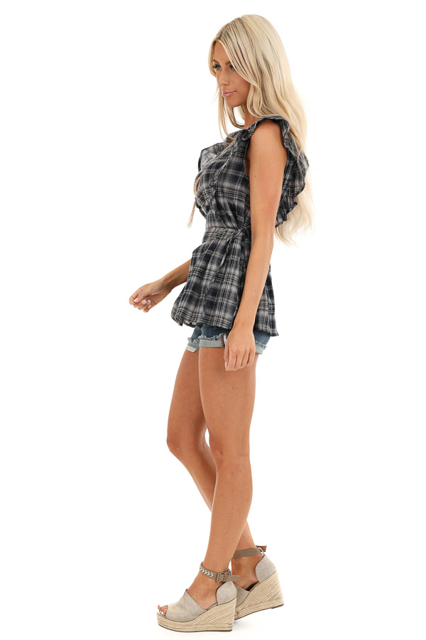 Navy and Stone Grey Plaid Ruffle Sleeve Top with Side Ties side full body