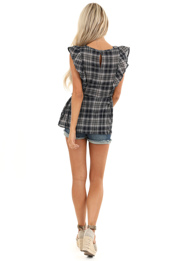 Navy and Stone Grey Plaid Ruffle Sleeve Top with Side Ties back full body