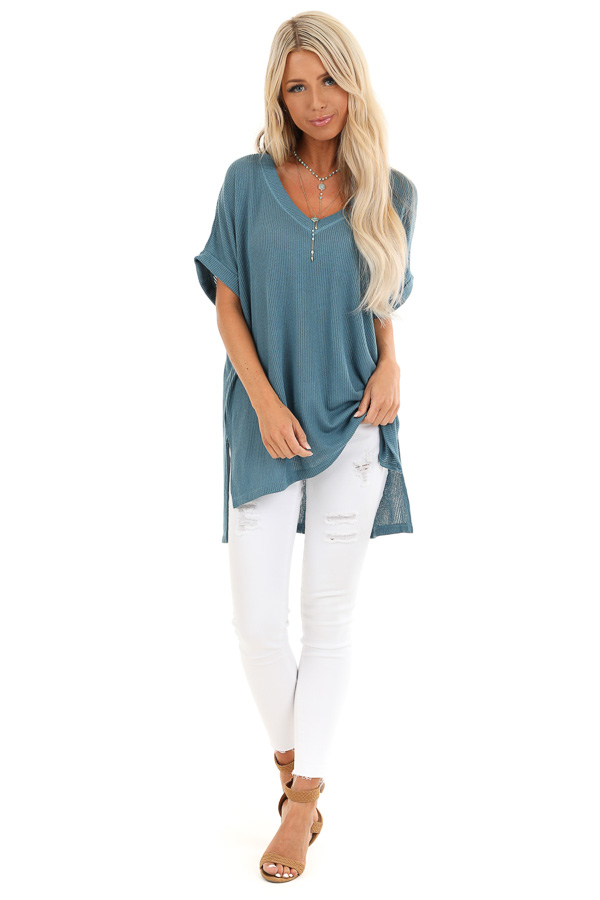 Antique Blue V Neck Short Sleeve Top with High Low Hemline front full body