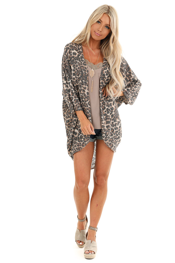 Caramel Cheetah Print Cardigan with Quarter Sleeves front full body