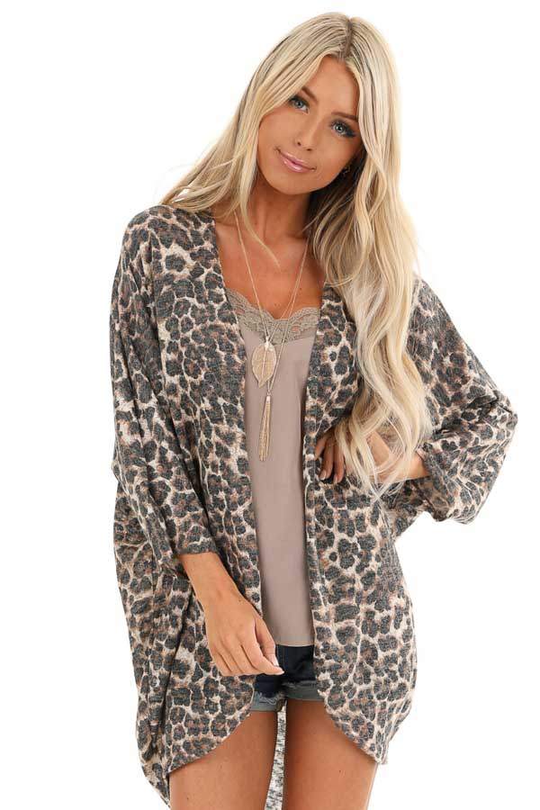 Caramel Cheetah Print Cardigan with Quarter Sleeves front close up