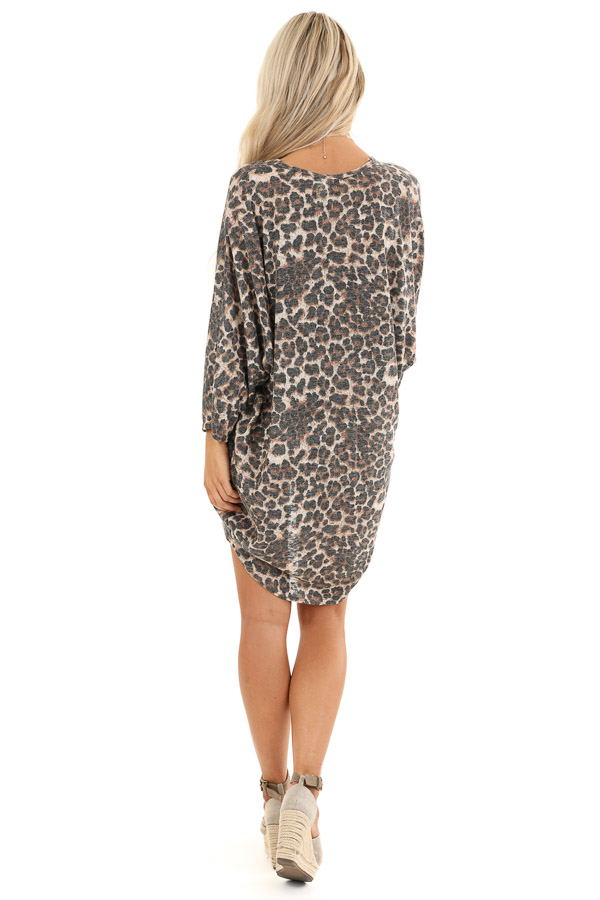Caramel Cheetah Print Cardigan with Quarter Sleeves back full body