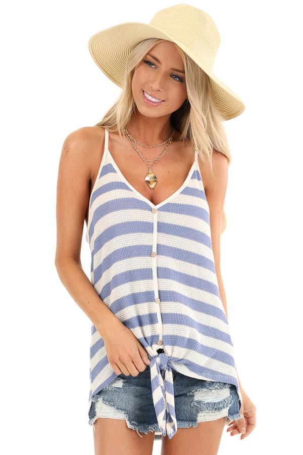 Periwinkle and Cream Striped Button Up Tank Top with Tie front close up
