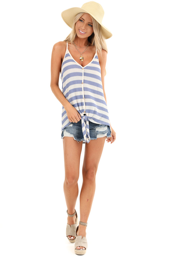 Periwinkle and Cream Striped Button Up Tank Top with Tie front full body