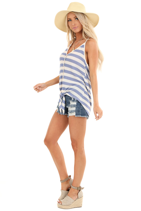 Periwinkle and Cream Striped Button Up Tank Top with Tie side full body