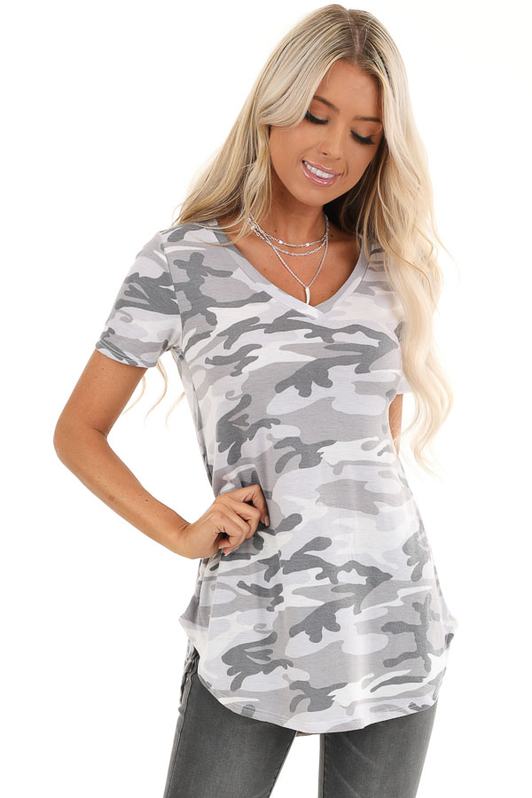 Charcoal Camo Print V Neck Short Sleeve Tee front close up