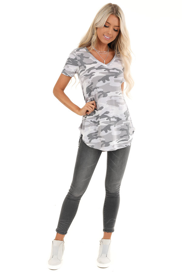 Charcoal Camo Print V Neck Short Sleeve Tee front full body