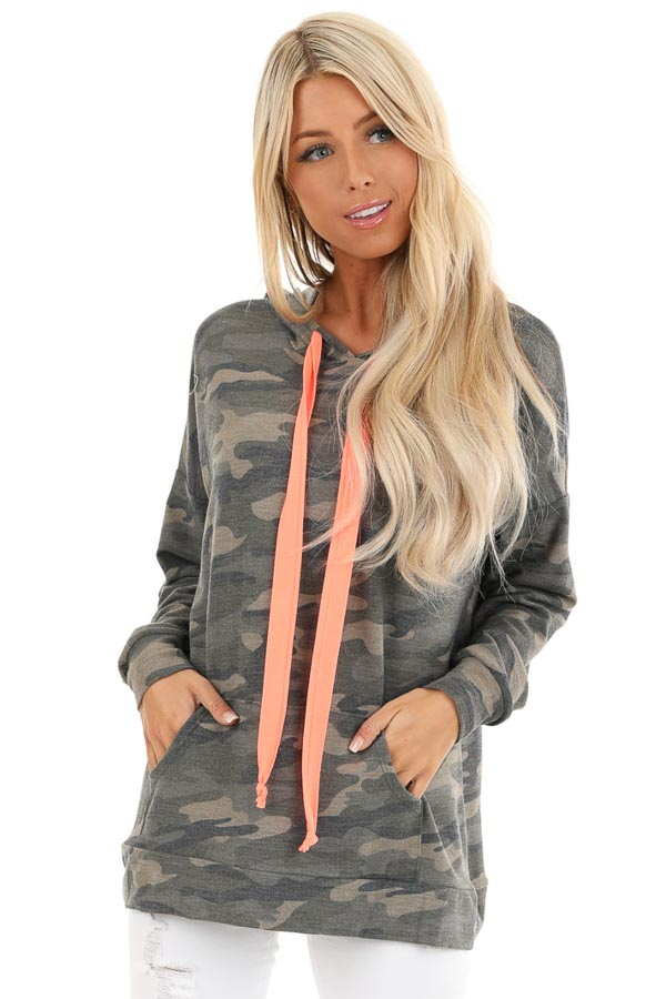 Olive Camo Print Hoodie with Neon Pink Drawstrings front close up