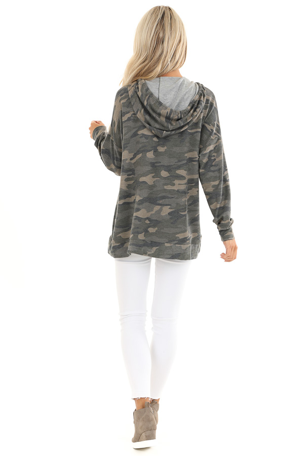 Olive Camo Print Hoodie with Neon Pink Drawstrings back full body