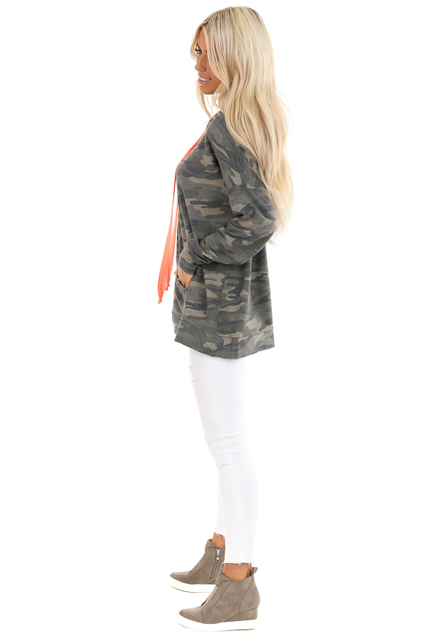 Olive Camo Print Hoodie with Neon Pink Drawstrings side full body