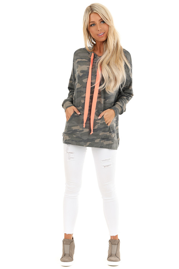 Olive Camo Print Hoodie with Neon Pink Drawstrings front full body