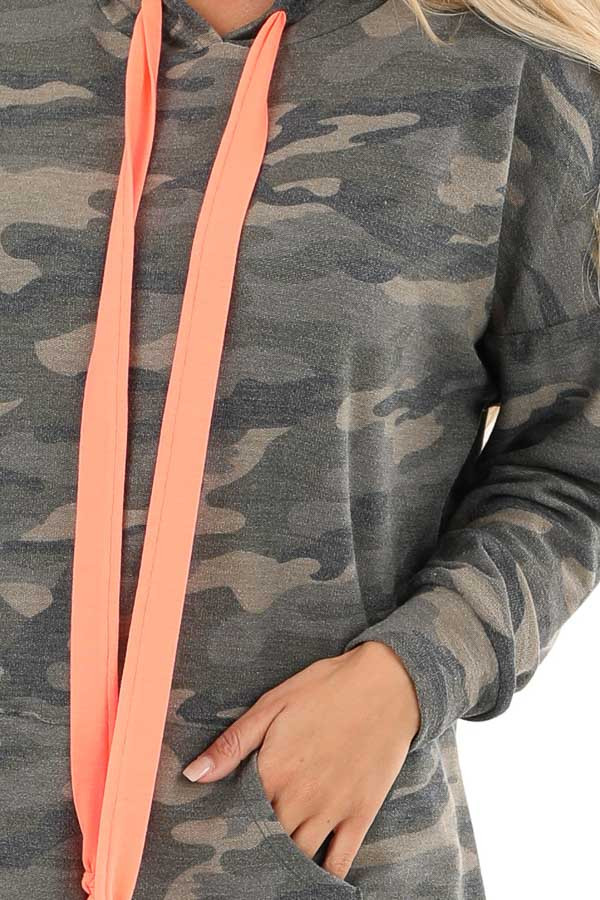 Olive Camo Print Hoodie with Neon Pink Drawstrings detail