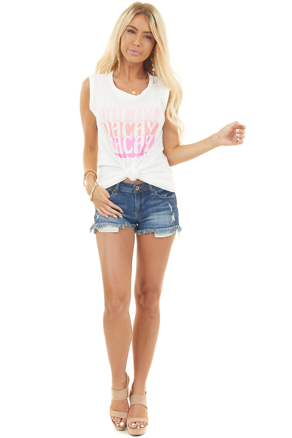 Pearl White 'Vacay ' Graphic Tank Top